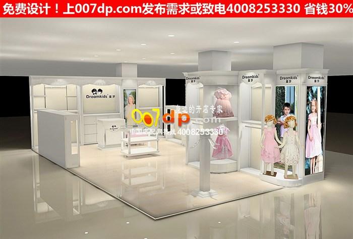 时尚创意韩版童装店装修效果图及国外童装童鞋货架货柜图片