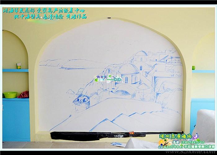 > 11月最新地中海壁画墙绘手绘墙画作品 华发商都