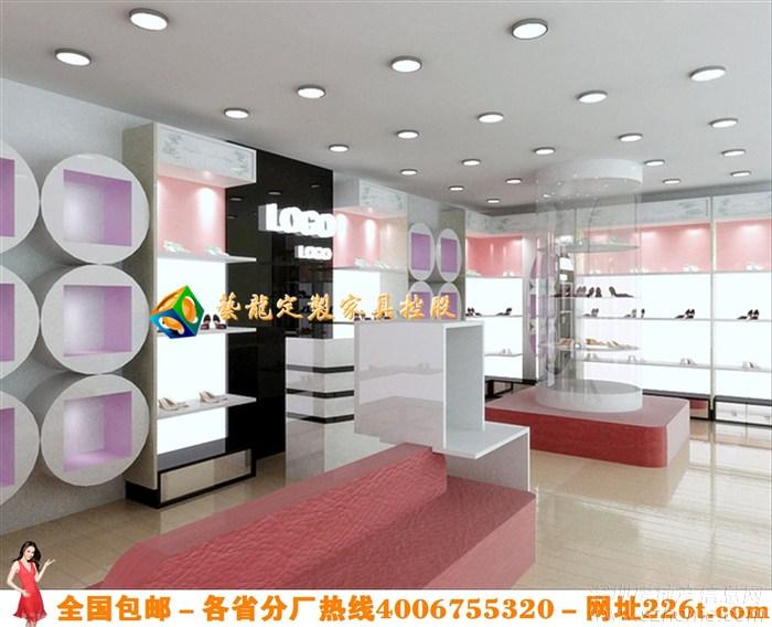烤漆鞋店装修鞋架鞋柜效果图大全鞋店展示柜设计1206