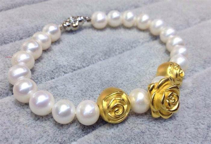 黄金转运珠搭配淡水珍珠