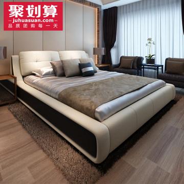 顾家b-113 高端欧式床真皮床实木软床