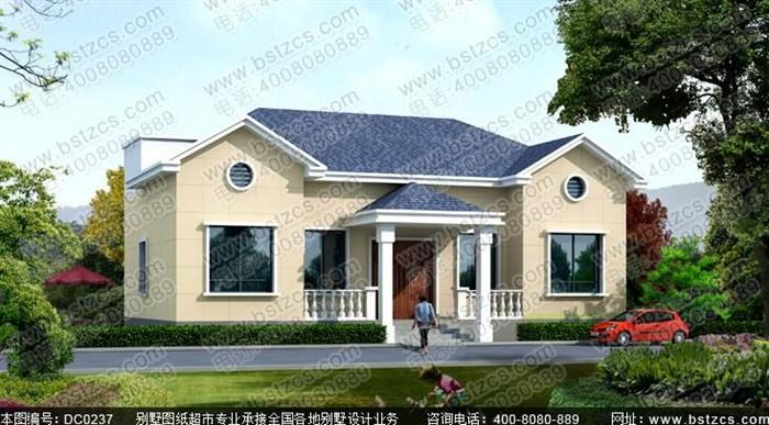 16米×9米农村一层平房设计图带阁楼及效果图_鼎川别墅图纸超市