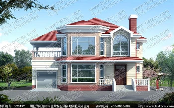 8米二层带车库豪华私人农村别墅设计图