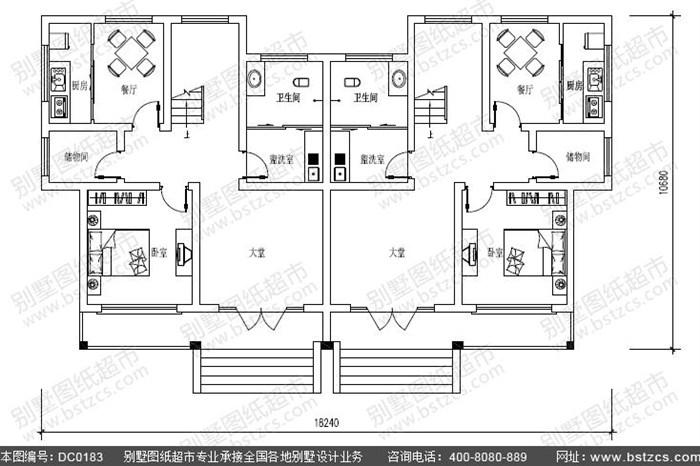 18.5米×11米新农村三层双拼别墅设计图纸及效果图_鼎川别墅图纸超市