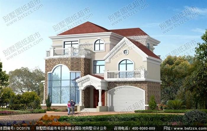 15米×15米三层带车库复式楼别墅设计图纸及效果图_鼎川别墅图纸超市