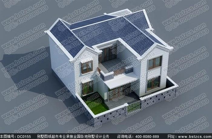 9米12米二层带围墙新农村别墅设计图纸及效果图