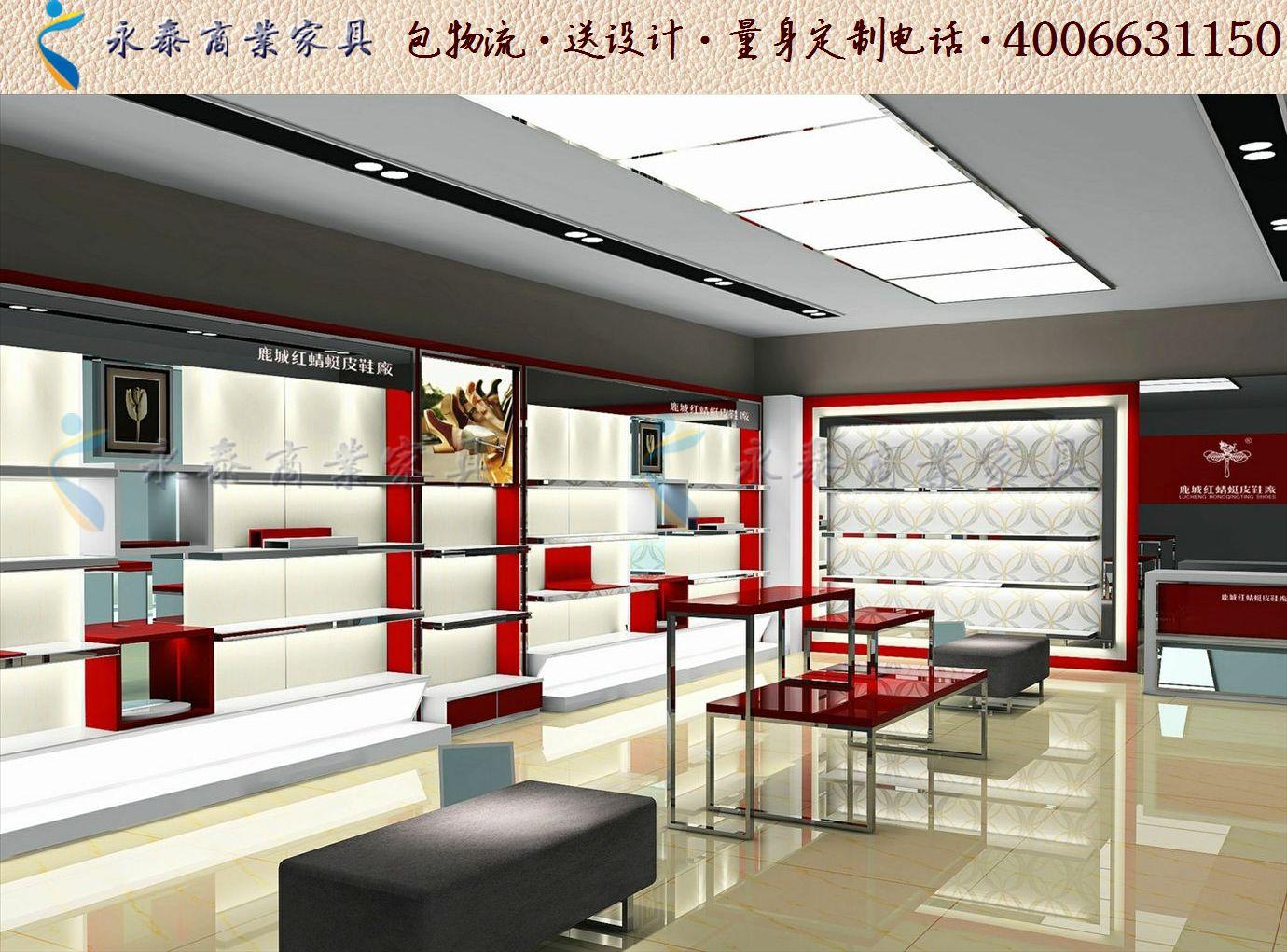個性鞋店裝修效果圖大全時尚 女鞋 店 裝修 貨架展示柜