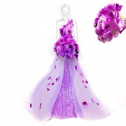 花瓣摆设的裙摆和美女插画的结合