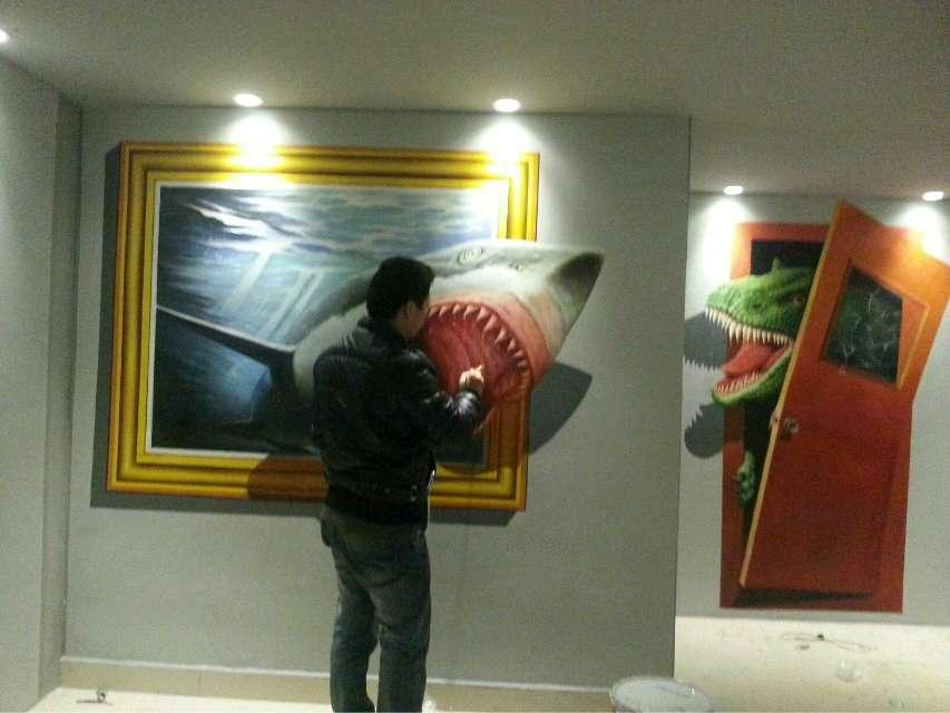 深圳一家咖啡馆水泥墙面墙绘制作过程