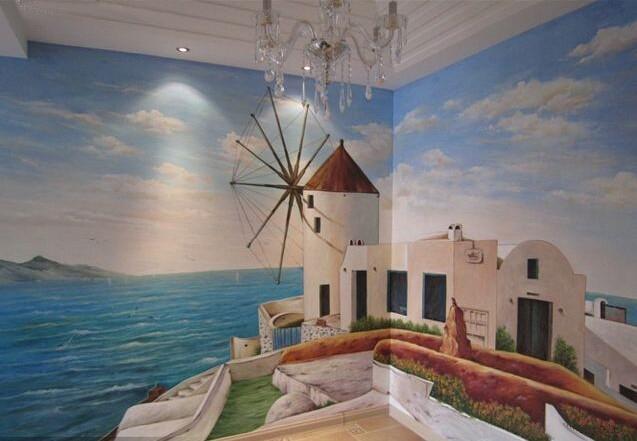 > 手绘地中海风格 电视背景墙画