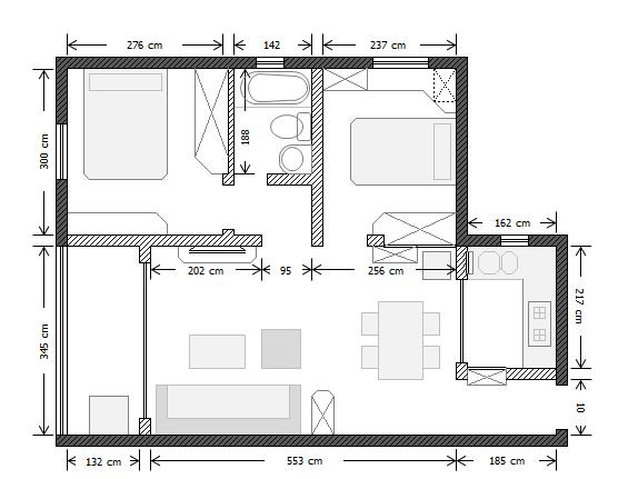 这是基础的平面图,因为梅兴苑交房的时候客厅有一圈瓷砖铺着,我们铲