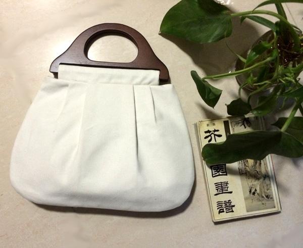 中国风空白实木提手手提包