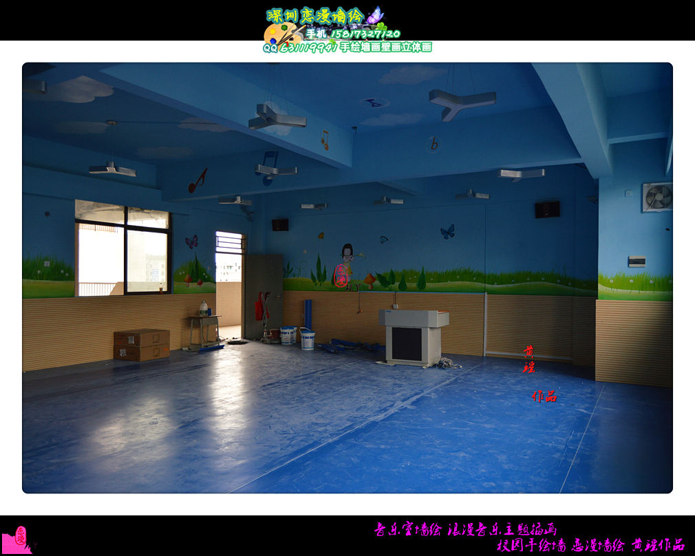 音乐室墙绘 浪漫音乐主题插画 校园手绘墙