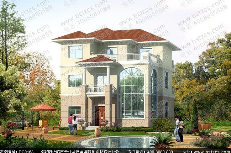 2米14米三层欧式别墅设计图纸及效果图