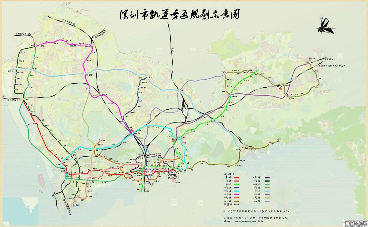 大家可以看看深圳地铁规划图,官方的,深圳东站就是现在的坪山高铁站
